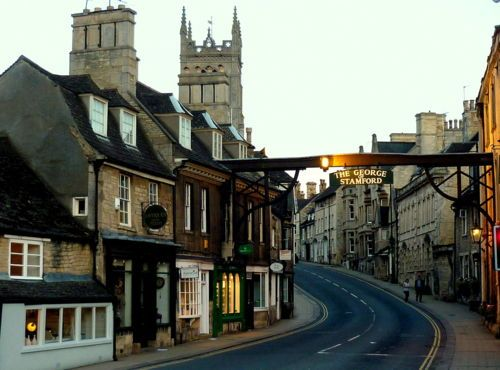 The High Street in Stamford, Lincolnshire, England; another Dickensian town one hundred miles from London.