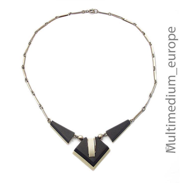 Jakob Bengel Galalit Bakelit Collier Art Deco 30er necklace verchromt 🌺🌺🌺🌺🌺