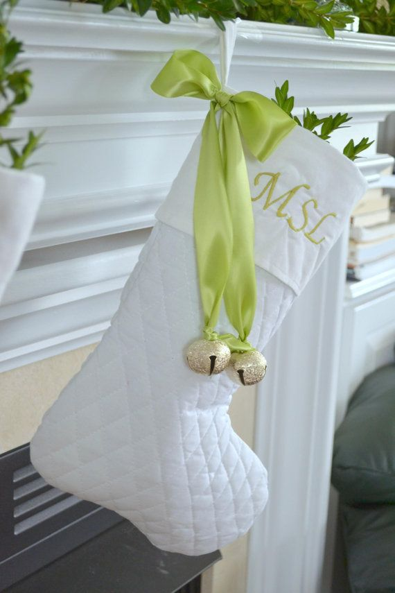 White Christmas stocking with bow and bells by Flutters on Etsy