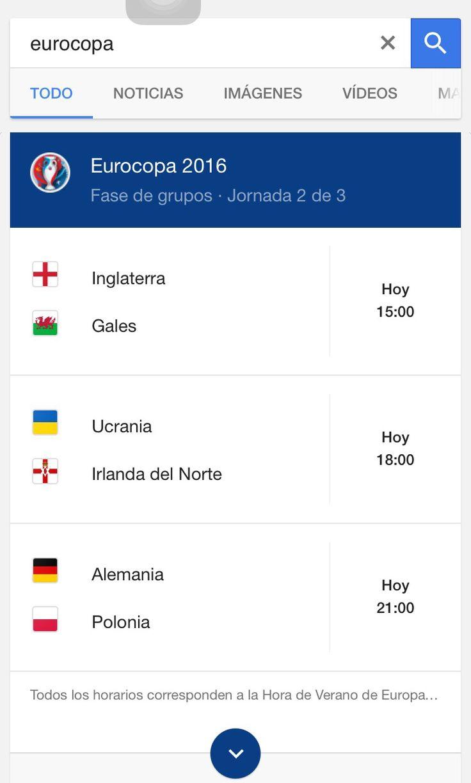 """Os recordamos que para ver los horarios de cada partido de la #Eurocopa podéis poner """"Resultados Eurocopa"""" en #Google , y si dais click al partido en desarrollo podréis ver cronología, alineación, estadísticas etc #EURO2016 #España  Sin necesidad de apps solamente el navegador."""