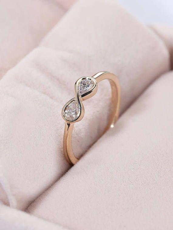 c33e3e5a9194c Pear Shaped cut diamond Infinity Engagement Ring Bridal Dainty ...