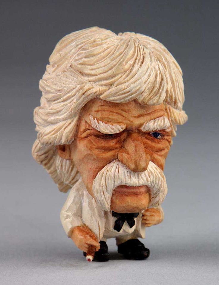 """Mark Twain"" wood carving by Rusty Johnson"