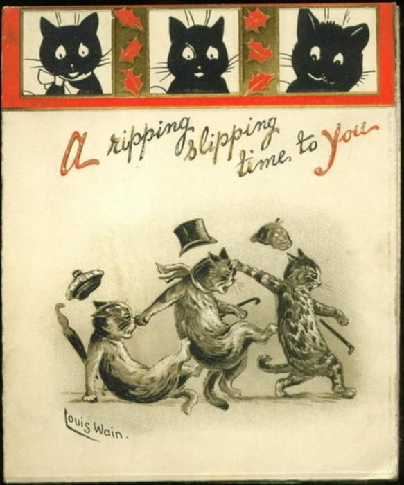 A Ripping Slipping Time To You Cats Illustration Louis Wain Cats Cat Art