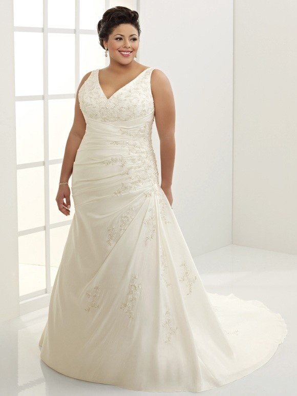 Great Taffeta Drop Waist Embroidered Plus Size Bridal Gown PSN