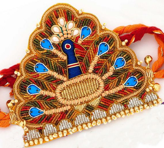 Peacock Rakhi with Kundans, Zardozi and Beads  IMAGES, GIF, ANIMATED GIF, WALLPAPER, STICKER FOR WHATSAPP & FACEBOOK