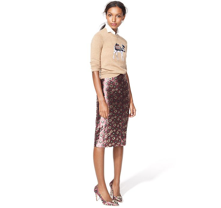 love this look from j.crew: iridescent pencil skirt, sweater and a peek-a-boo collared top