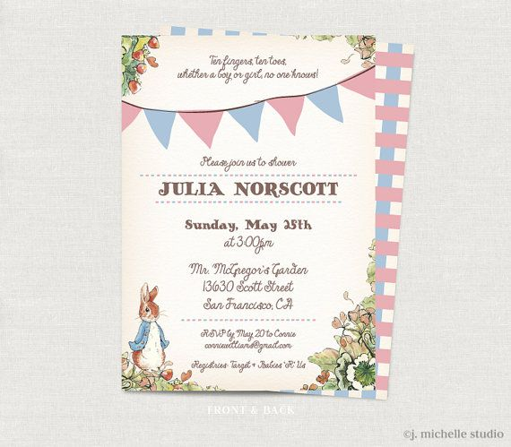 31 best Peter Rabbit Baby Shower images – Beatrix Potter Birthday Invitations