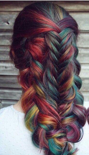 Fishtail / braided rainbow hair