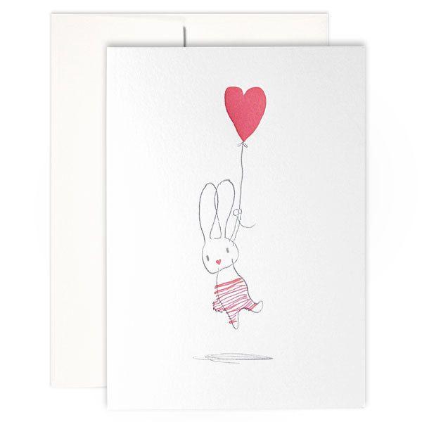 Floating Hearts - LETTERPRESS EASTER CARD / Kikisoso Letterpress  #easter_bunny #easter_cards #easter #letterpress