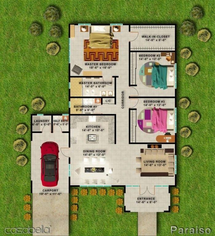 15 Desain Rumah Minimalis 1 Lantai 4 Kamar Tidur | Desain Rumah Modern