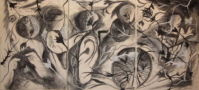 Untitled by Julie Cleves. Charcoal, white chalk, black pastel, white and black paint on white paper. Commision from Graeae Theatre Company. November 2009
