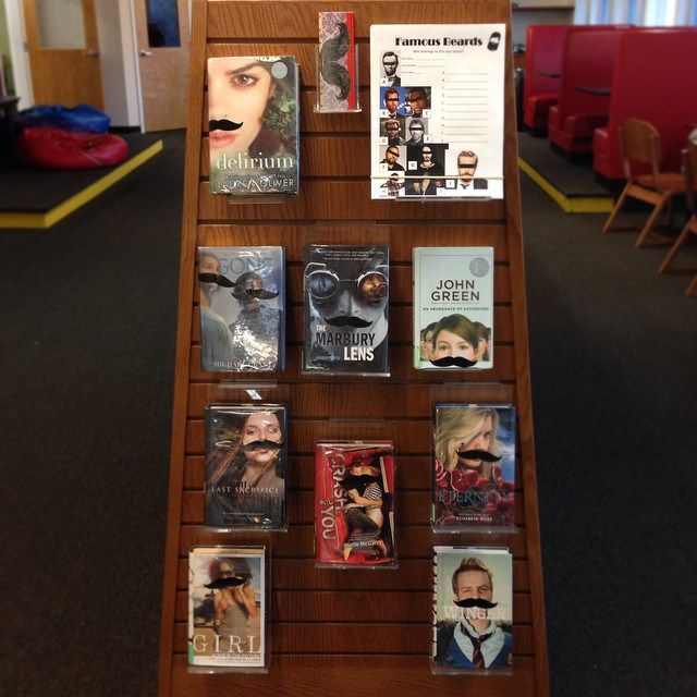 I mustache you a question: Are you ready forNo Shave November? Last year's display and quiz were so popular that I had to do it again with my teens! Like last year, I set up a display with t…