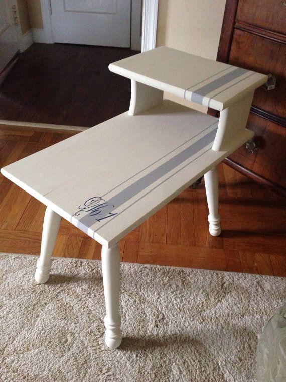 vintage side tableend table hamd painted annie sloan old whiteparis grey in grainsack design