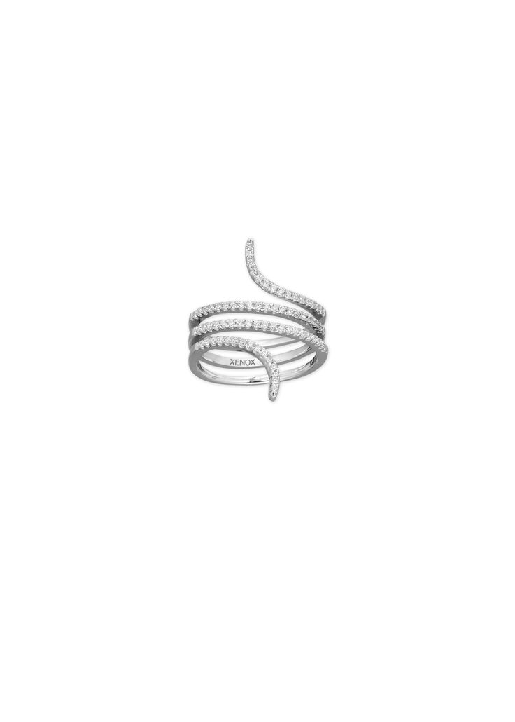 #Highlight: Sanft geschwungener #XENOX Schlangen- #Ring #glamour #shiny #ringparty #crystal #jewelrytrends #jewelrylovers #silver #glitzer #blingbling