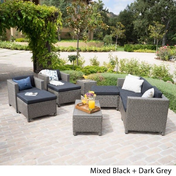 Puerta Outdoor 10 Piece Wicker Sofa Set Collection With Cushions By Christopher Knight Home Wicker Patio Sectional Wicker Sofa Patio