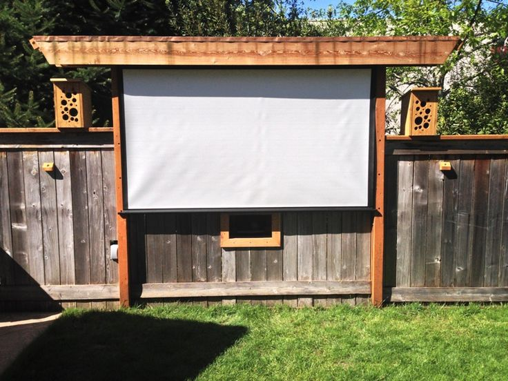 fun idea - pergola bird feeding movie theater!  AWESOME Outdoor Movie Screen Ideas for Summer Backyard fun!