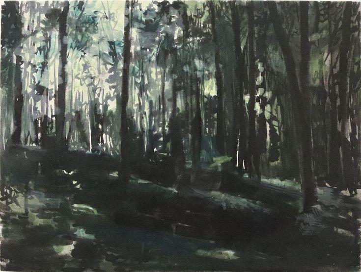 "original artwork ""Park"", 30x20cm, oil on canvas, 2017  by Rūta Matulevičiūtė"