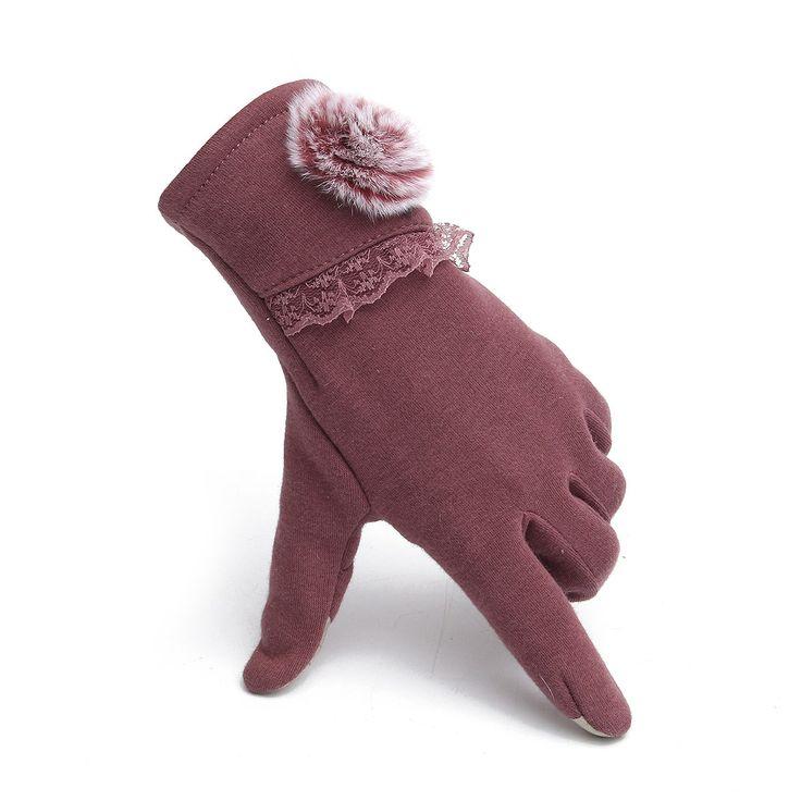 Women Ladies Thermal Faux Rabbit Fur Touch Screen Gloves Motorcycle Velvet Lining Outdoor Mittens at Banggood