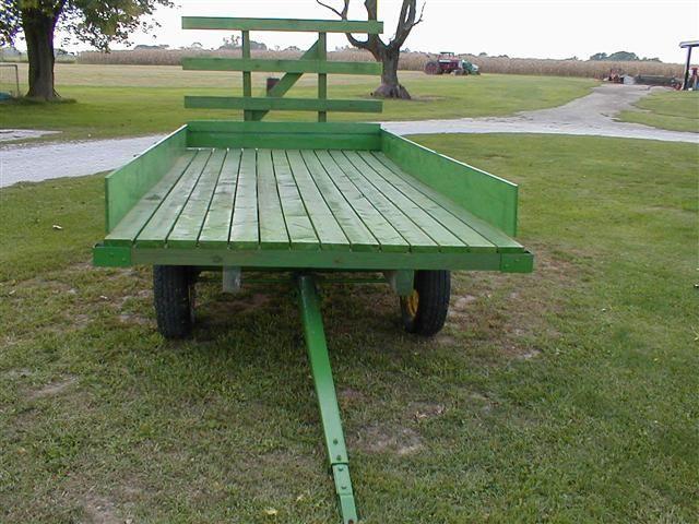 John Deere Green painted Wood Hay rack Wagon for sale