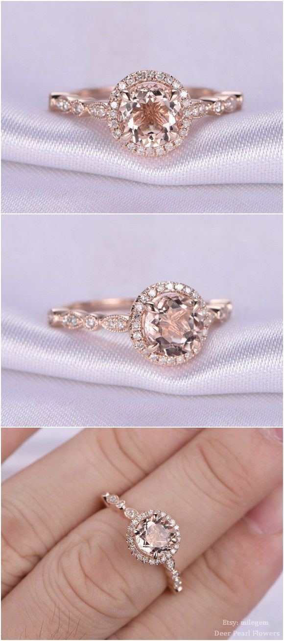 rose gold vintage floral engagement ring / http://www.deerpearlflowers.com/rose-gold-engagement-rings-from-milegem/