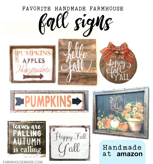 It's Fall Y'all! These are some of my most favorite handmade farmhouse fall signs - found on Handmade at Amazon!!