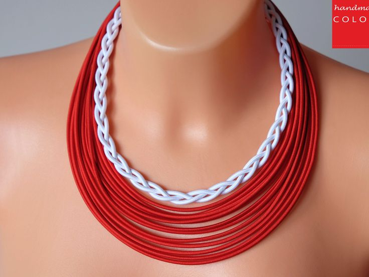 African Jewelry, Ankara Multistrand Necklace, Chunky statement necklace, Navy necklace,Braided red necklace, Bold tribal necklace, Necklaces