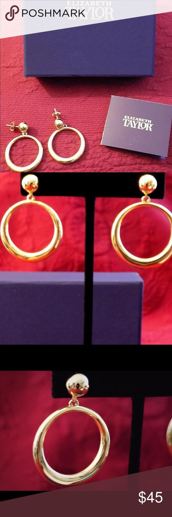 Gold Hoops | Elizabeth Taylor Collection for QVC These Front Facing Gold Hoops are retired from the Elizabeth Taylor Collection for QVC. They are an exact replica of the ones she wore. Elizabeth Taylor Jewelry Earrings