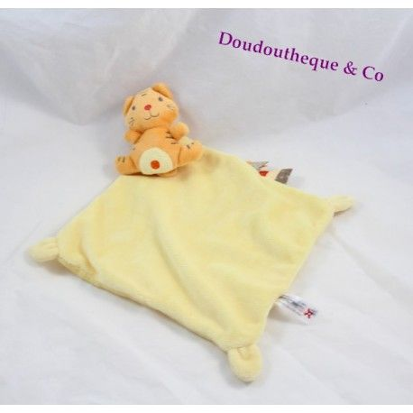 Doudou plat tigre NICOTOY mouchoir orange jaune étiquettes 32 cm