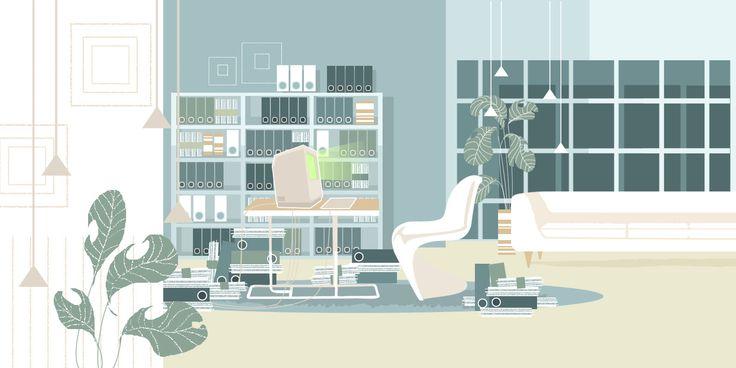 ArtStation - Cofinoga - animated film backgrounds design- Galeries Lafayette, Marguerite Sauvage