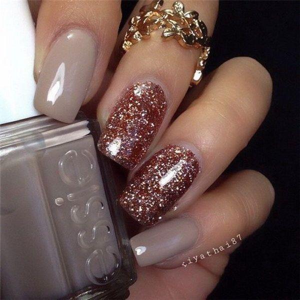 Rose Gold Glitter Nail Art Design.