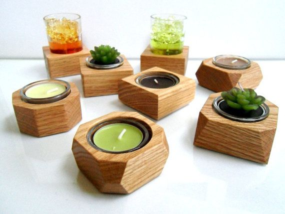 Modern Hand-Crafted Wood Candle / Pot Holder - Solid Oak with glass container -  Made to Order on Etsy, $9.50