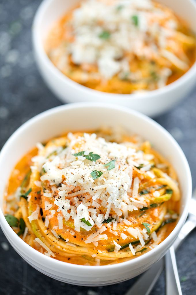 Creamy Roasted Red Pepper Zucchini Noodles - I've made this sauce before and it's surprisingly tasty