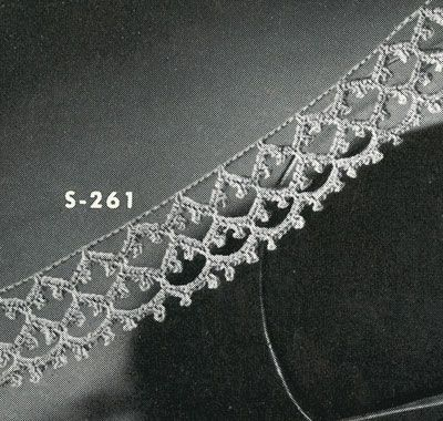 Irish Crochet Edging No. S261 pattern from Edgings for All Purposes, Clark's O.N.T. J Coats, Book No. 288, in 1952.