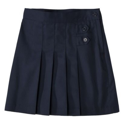 Girls School Uniform Pleated Tab Scooter-This says it's knee length but it doesn't look it.  From Target, they have nice uniform clothes on-line, just hard to tell without seeing them in person. :P