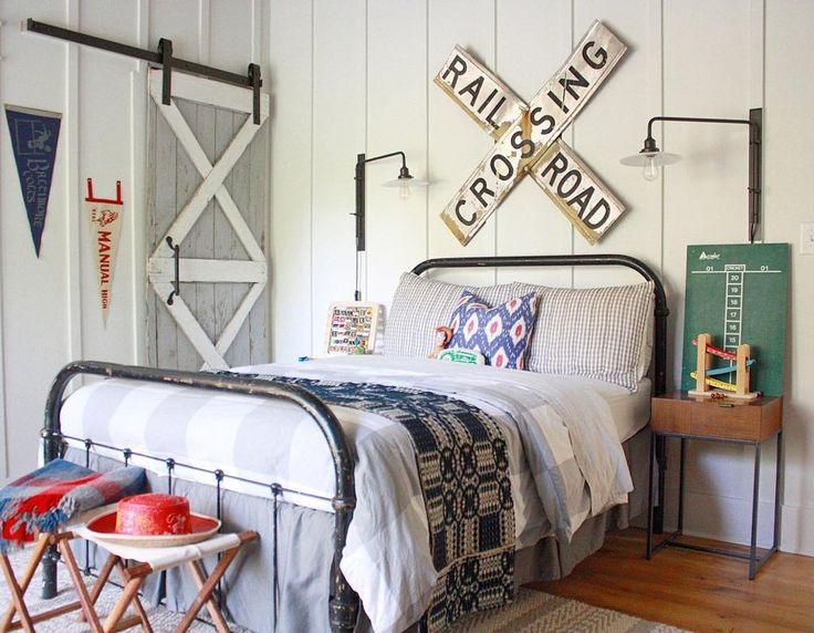 Vintage Farmhouse Style Train Theme Boys Room