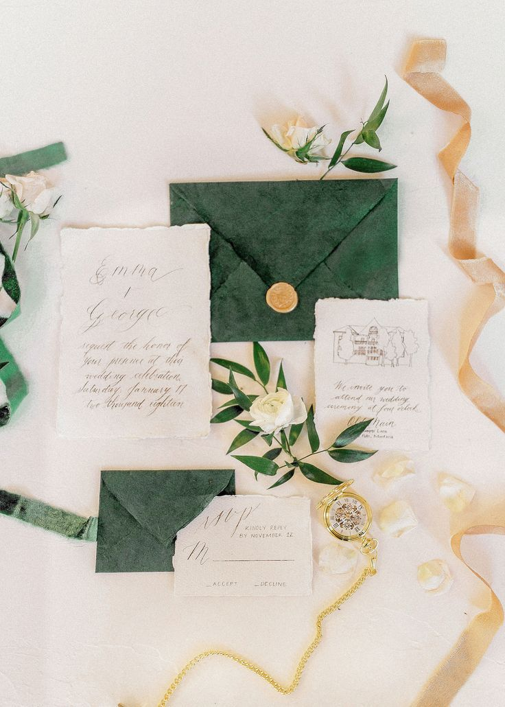 Emerald And Gold Antique Inspiration With A Major Dose Of Holiday Glamour Winter Wedding Planning Green Invitations Green Wedding Invitations