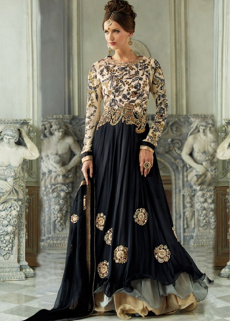 Image result for black colour anarkali photo