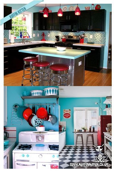 Seriously... Those stools. And the red pendants. Not crazy about the black cabinets but I dig the checkered flooring in the lower-right pic.