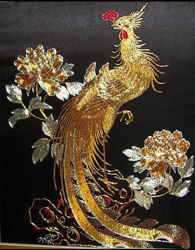 Chinese Phoenix - silk and gold - 65 x 80 cm