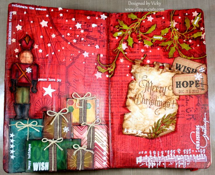 Art Journal: Merry Christmas How-to video and supplies available here: http://www.clips-n-cuts.com/2013/12/art-journal-merry-christmas/