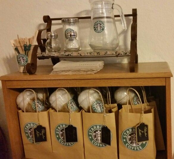 Starbucks party favors.                                                                                                                                                                                 More