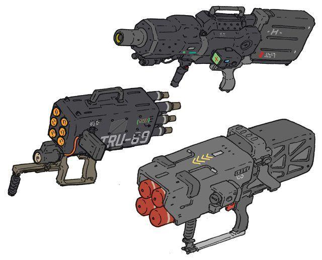 Handheld bazookas #weapon #rocket #missile #mech #scifi #poster