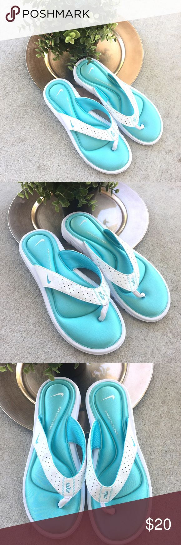 Nike Tiffany Blue & White Flip Flops Nike Comfort Footbed Tiffany Blue & White Thong Sandals Memory Foam  Size 9 Womens Excellent preowned condition Nike Shoes Sandals