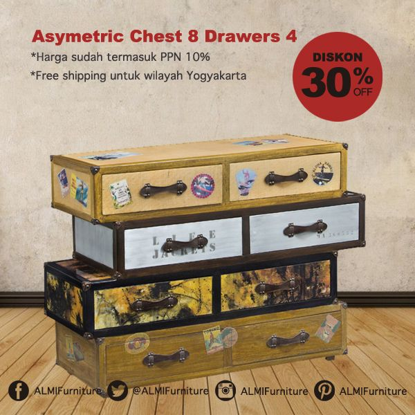 Asymetric Chest 8 Drawers 4 Finishing dengan desain cantik ini merupakan pilihan tepat untuk Anda yang ingin memberikan suasana vintages dan elegan pada kamar tidur Anda. Info Pemesanan Telp. (0274) 4342 888 (Customer Service & Sales) Cek disini..http://ow.ly/YMcVw