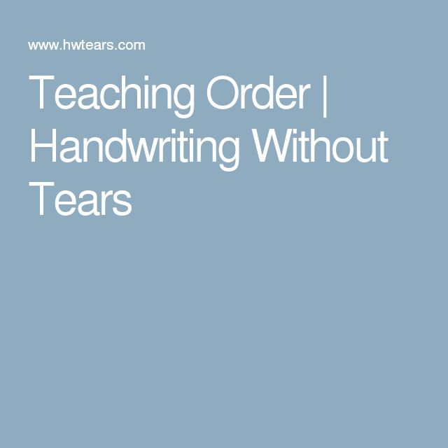 handwriting without tears letter order pdf