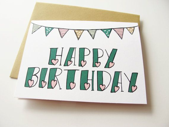 happy birthday card bunting and hearts hand lettered by katievaz, $3.50