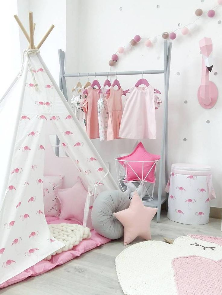 Kids tepee with flamingos to buy on Etsy - HappySpacesWorkshop - pastel girls room ideas with flamingo, pink and grey girls room, flamingo decor, kids interior,kidsroom, tepee,wigwam, pink, pink decor, play zone,room for girl, white, grey, pink