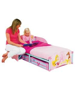 Disney Princess Storytime Bed  Pink.12mm printed MDF panels with tubular steel frame.Converting side table-seat mode / shelf mode.Seat mode encourages bedtime routine.2 printed fabric under bed storage drawers.Ideal transition from a cot.For age 18 months  - 5 years.Size (H)54, (W  http://www.comparestoreprices.co.uk/childrens-furniture/disney-princess-storytime-bed.asp #disney #disneyfurniture #kidsfurniture #childrensfurniture