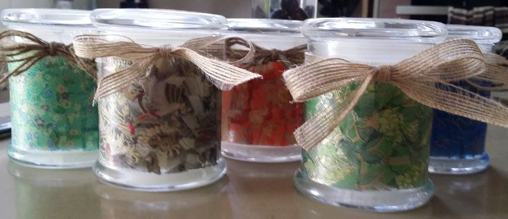 Soy candles in our decorated jars.