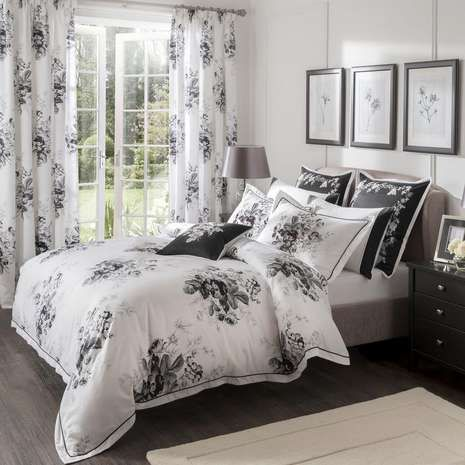 dorma black and white gardenia duvet cover dunelm. Black Bedroom Furniture Sets. Home Design Ideas